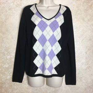 Size Large 100% Cashmere Sweater Argyle